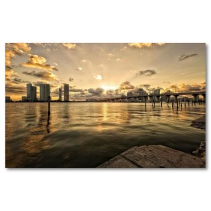 Αφίσα (Miami, πανοραμικός, θάλασσα, κτίρια, ουρανός)